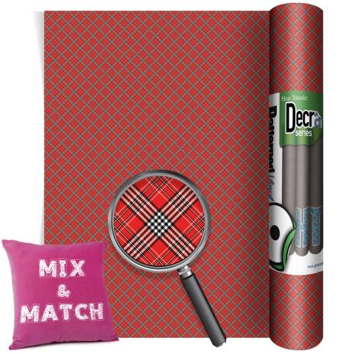 Tartan Red Small Decra Self Adhesive
