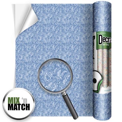 Paisley Blue Decra Self Adhesive