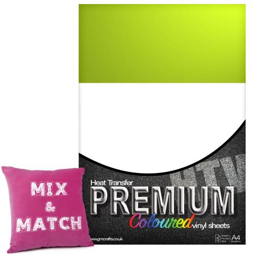 Apple Green Premium Coloured HTV Textile A4 Packs From GM Crafts