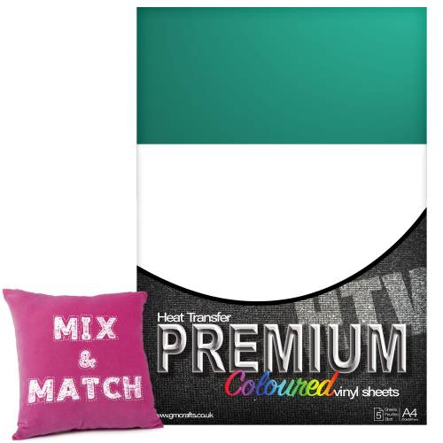 Aqua Green Premium Coloured HTV Textile A4 Packs From GM Crafts