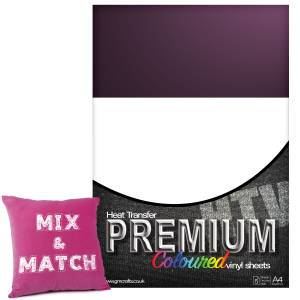 Aubergine Premium Coloured HTV Textile A4 Packs From GM Crafts