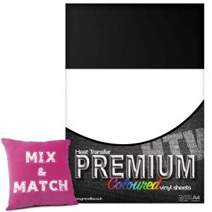 Black Premium Coloured HTV Textile A4 Packs From GM Crafts