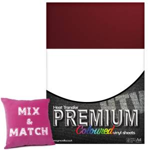 Bordeaux Premium Coloured HTV Textile A4 Packs From GM Crafts