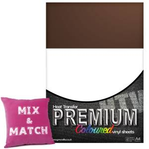 Brown Premium Coloured HTV Textile A4 Packs From GM Crafts