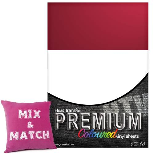 Cardinal Red Premium Coloured HTV Textile A4 Packs From GM Crafts