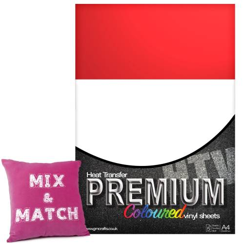 Flame Red Premium Coloured HTV Textile A4 Packs From GM Crafts
