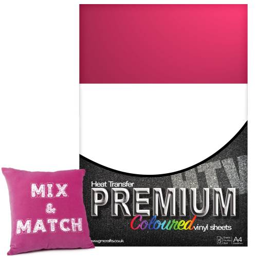 Fuchsia Premium Coloured HTV Textile A4 Packs From GM Crafts