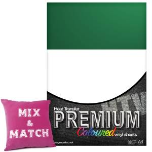 Green Premium Coloured HTV Textile A4 Packs From GM Crafts