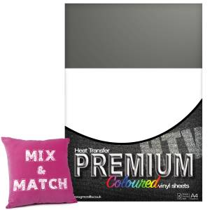 Grey Premium Coloured HTV Textile A4 Packs From GM Crafts