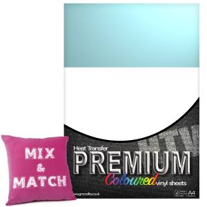 Ice Blue Premium Coloured HTV Textile A4 Packs From GM Crafts