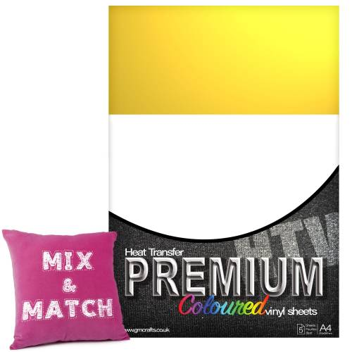 Lemon Yellow Premium Coloured HTV Textile A4 Packs From GM Crafts
