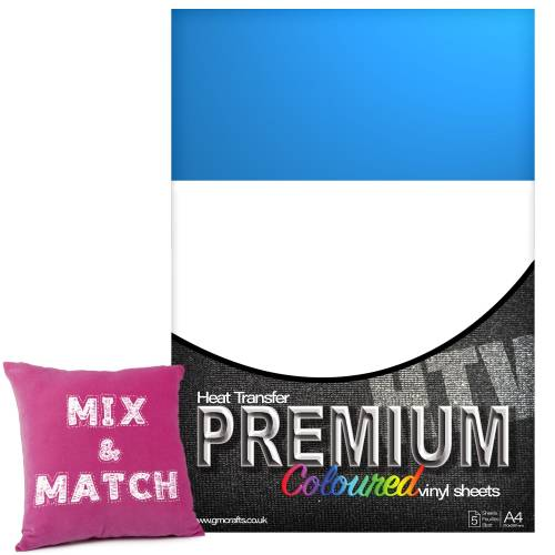 Light Blue Premium Coloured HTV Textile A4 Packs From GM Crafts