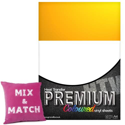 Medium Yellow Premium Coloured HTV Textile A4 Packs From GM Crafts