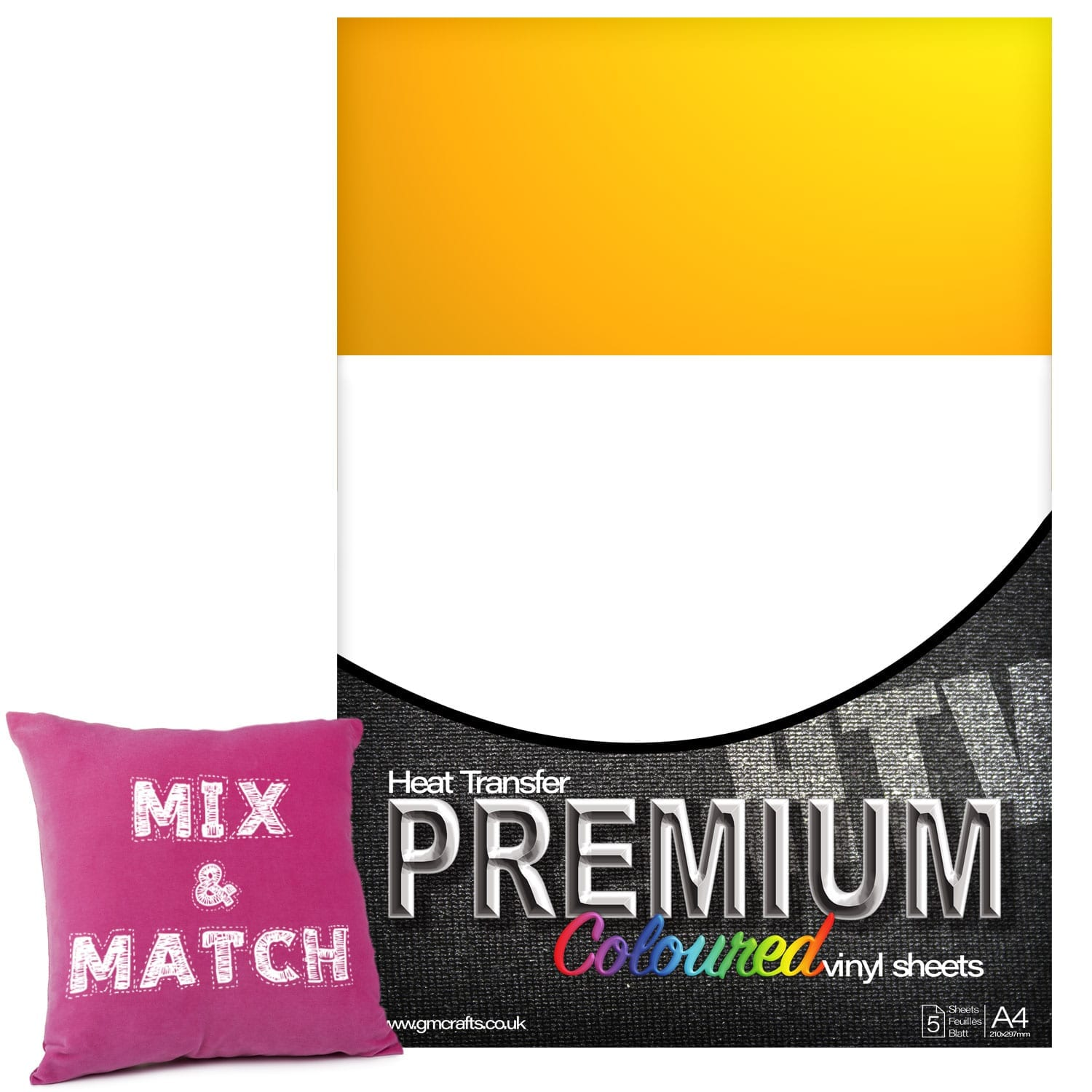 ad0d7e0eb Medium Yellow Premium Coloured HTV Textile A4 Packs From GM Crafts