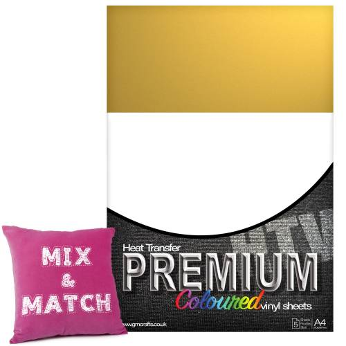 Metallic Gold Premium Coloured HTV Textile A4 Packs From GM Crafts