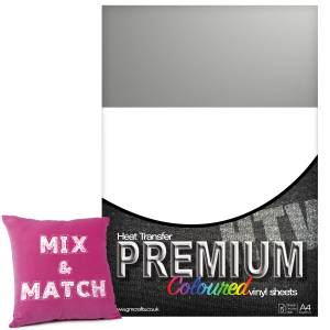 Metallic Silver Premium Coloured HTV Textile A4 Packs From GM Crafts