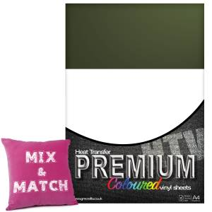 Military Green Premium Coloured HTV Textile A4 Packs From GM Crafts