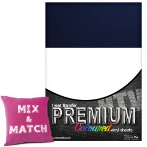 Navy Blue Premium Coloured HTV Textile A4 Packs From GM Crafts
