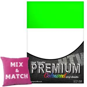 Neon Green Premium Coloured HTV Textile A4 Packs From GM Crafts
