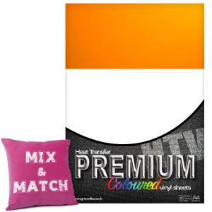 Neon Orange Premium Coloured HTV Textile A4 Packs From GM Crafts