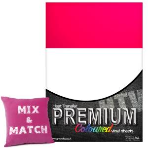 Neon Pink Premium Coloured HTV Textile A4 Packs From GM Crafts