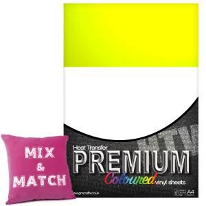 Neon Yellow Premium Coloured HTV Textile A4 Packs From GM Crafts