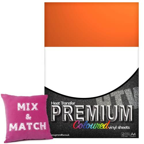 Orange Premium Coloured HTV Textile A4 Packs From GM Crafts