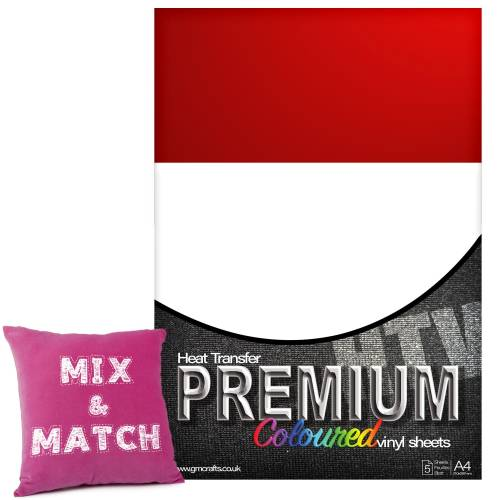 Red Premium Coloured HTV Textile A4 Packs From GM Crafts
