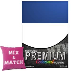 Royal Blue Premium Coloured HTV Textile A4 Packs From GM Crafts