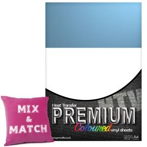 Sky Blue Premium Coloured HTV Textile A4 Packs From GM Crafts