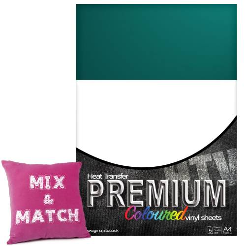 Turquoise Premium Coloured HTV Textile A4 Packs From GM Crafts