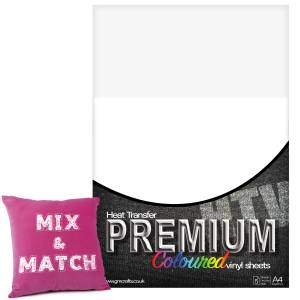White Premium Coloured HTV Textile A4 Packs From GM Crafts