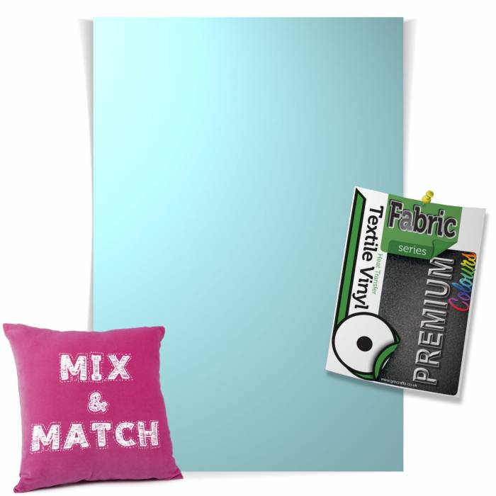 Ice Blue Pick & Mix Premium Coloured HTV Textile Sheets From GM Crafts