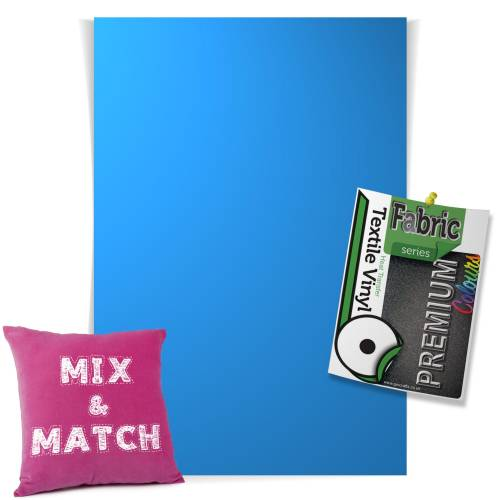 Light Blue Pick & Mix Premium Coloured HTV Textile Sheets From GM Crafts