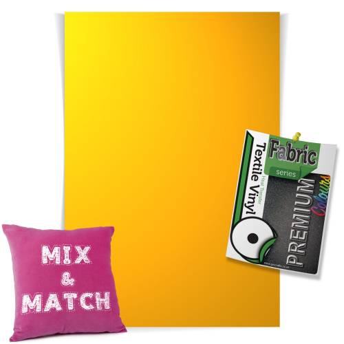 Medium Yellow Pick & Mix Premium Coloured HTV Textile Sheets From GM Crafts