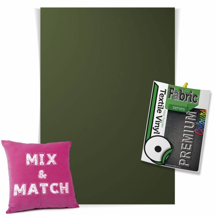 Military Green Pick & Mix Premium Coloured HTV Textile Sheets From GM Crafts
