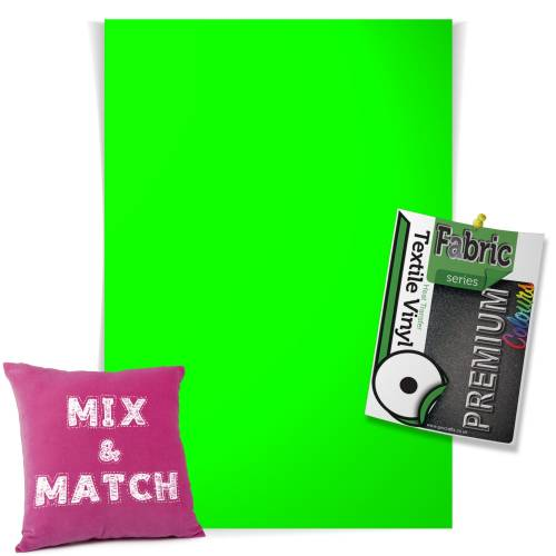 Neon Green Pick & Mix Premium Coloured HTV Textile Sheets From GM Crafts