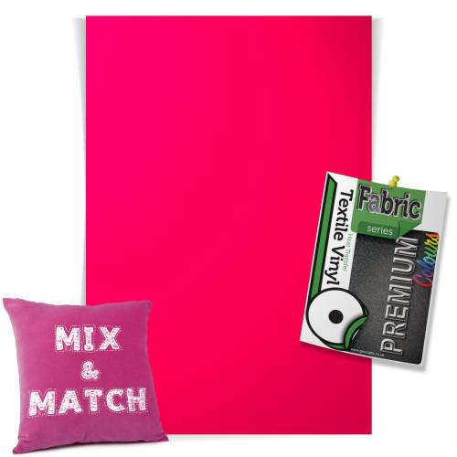 Neon Pink Pick & Mix Premium Coloured HTV Textile Sheets From GM Crafts