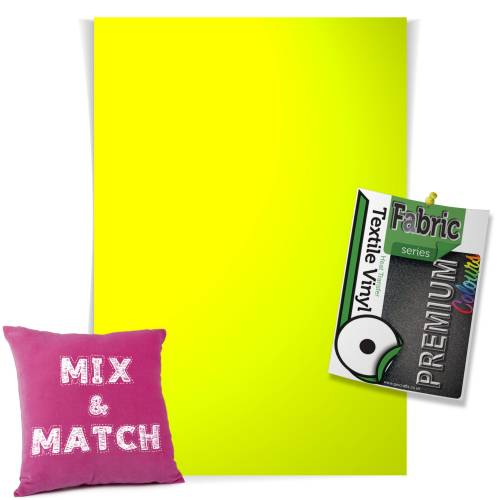 Neon Yellow Pick & Mix Premium Coloured HTV Textile Sheets From GM Crafts