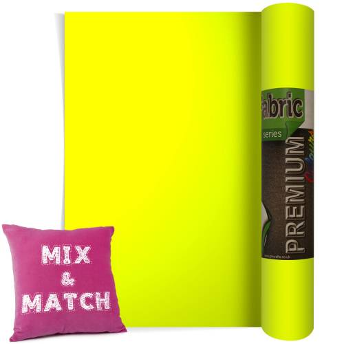 Neon Yellow Premium Coloured HTV Textile Film From GM Crafts