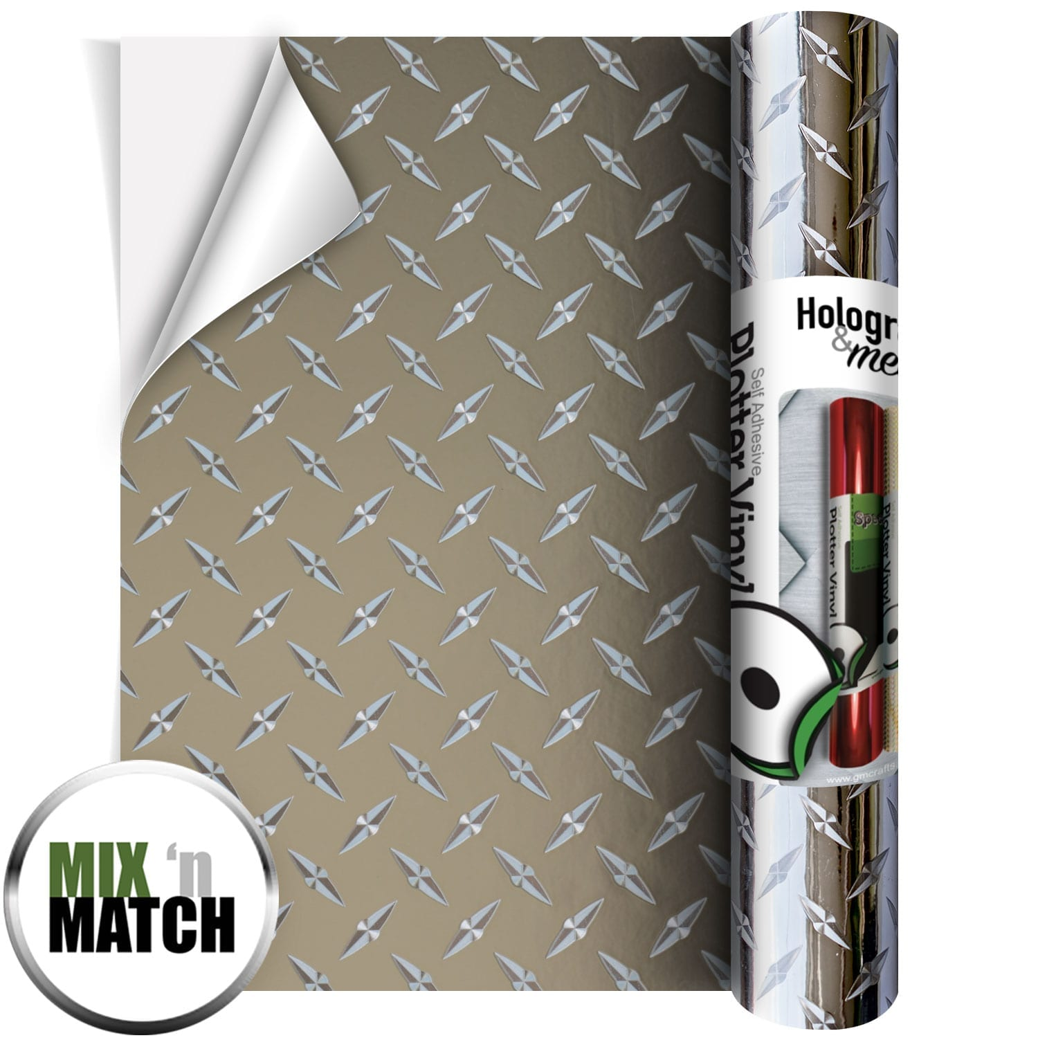 Chequer Plate Silver Vinyl 305mm x 610mm - GM Crafts