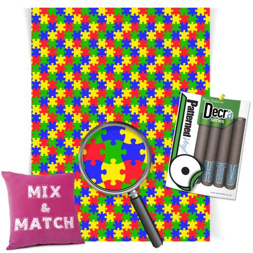 Coloured Jigsaw Decra Series HTV Sheets From GM Crafts