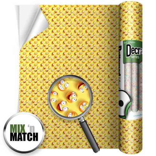 Emoji Yellow Patterned Self Adhesive Vinyl Rolls From GM Crafts