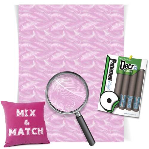 Pink Falling Feathers Decra Series HTV Sheets From GM Crafts