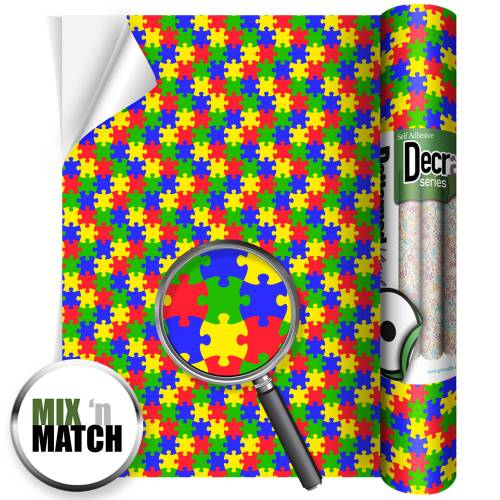 Multi Colour Jigsaw Patterned Vinyl Rolls From GM Crafts