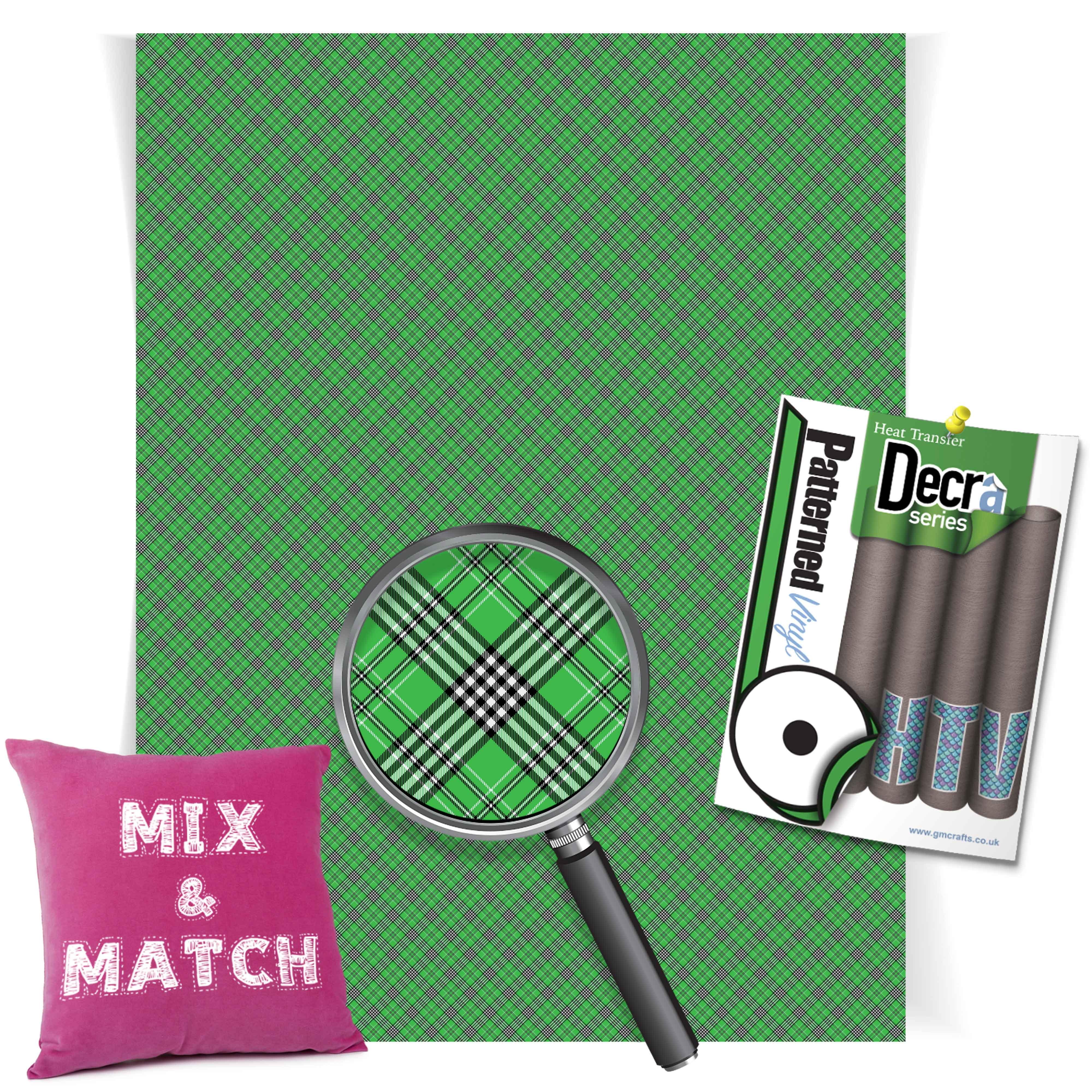 Tartan Green Small Htv 220mm X 240mm Sheet Gm Crafts