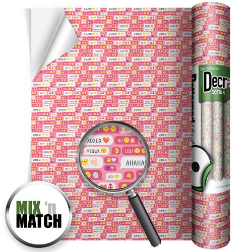 Text Speak Pink Patterned Self Adhesive Vinyl Rolls From GM Crafts