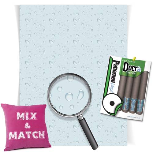 Water Drops Blue Decra Series HTV Sheets From GM Crafts