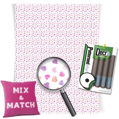 Watercolour Hearts Decra Series HTV Sheets From GM Crafts