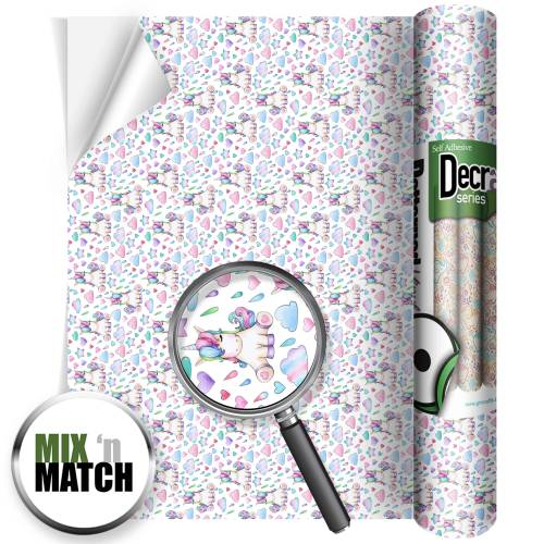 Watercolour Unicorn Patterned Self Adhesive Vinyl Rolls From GM Crafts